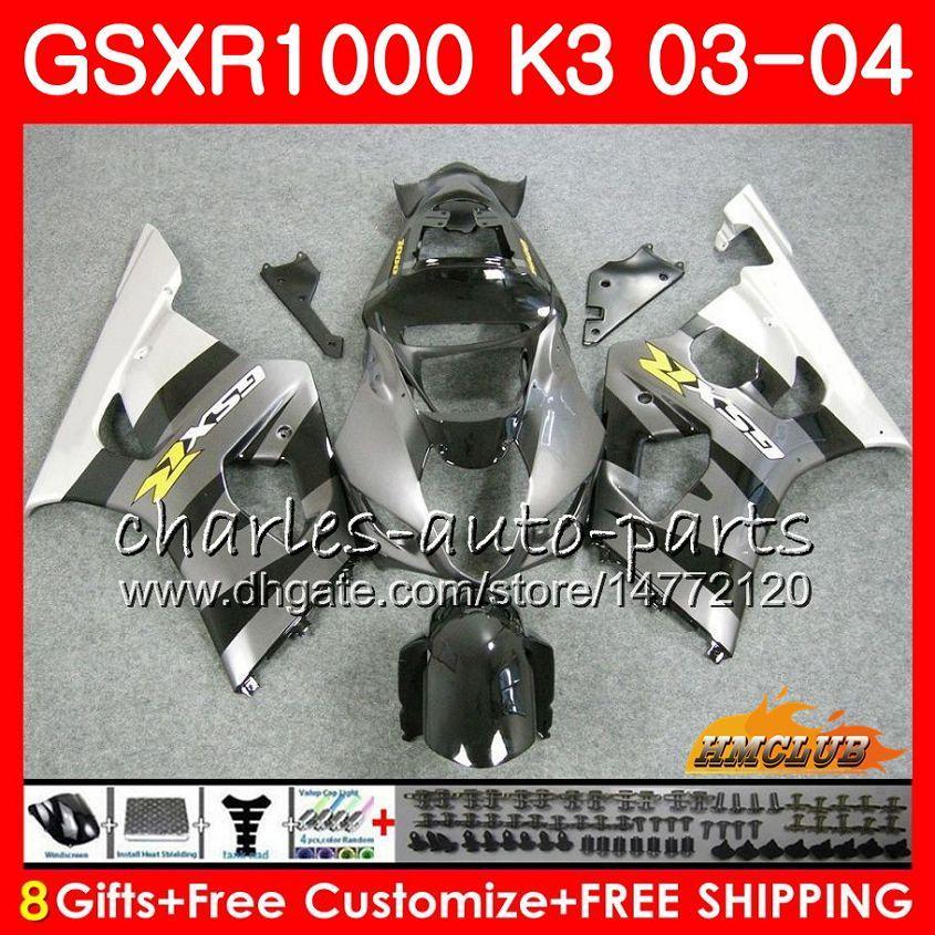 Rahmen für Suzuki GSX-R1000 GSXR 1000 GSXR1000 03 04 Körper 15HC.98 Bodywork GSX R1000 K3 Silvery Black GSXR-1000 03 04 2003 2004 Verkleidung Kit