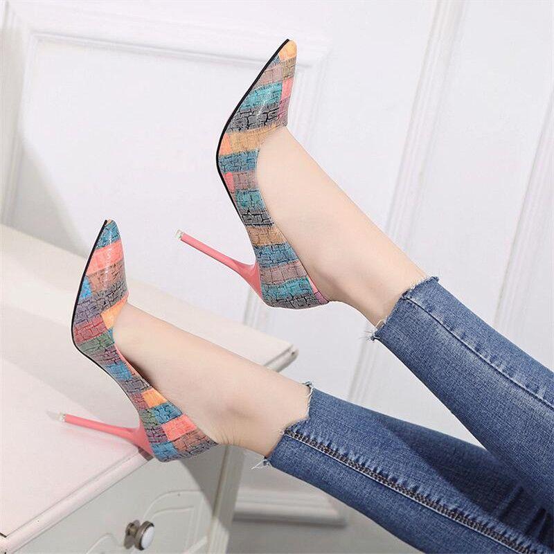 Плюс размером 34-42 2019 Spell Цвет Женщины Pump Высоких каблуков Одиночной Обувь женщина лето лакированных Свадьбы женщина Gladiator