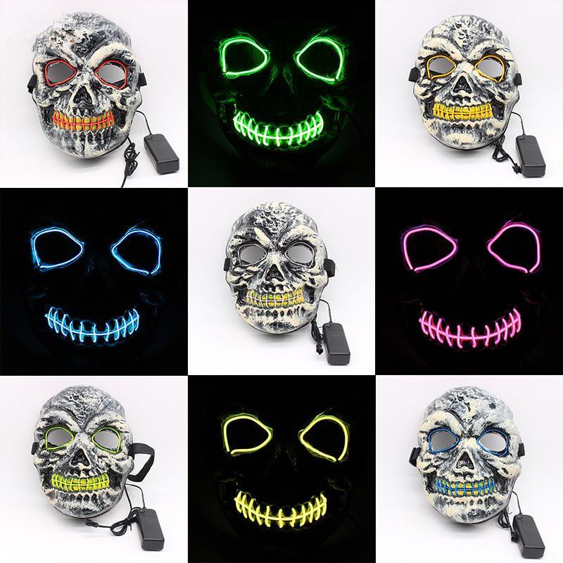 Maschere a LED di Halloween EL Wire Horror Party Masquerade Skull Maschere a pieno facciale Festival Cosplay Costume Forniture Giocattoli TTA1498