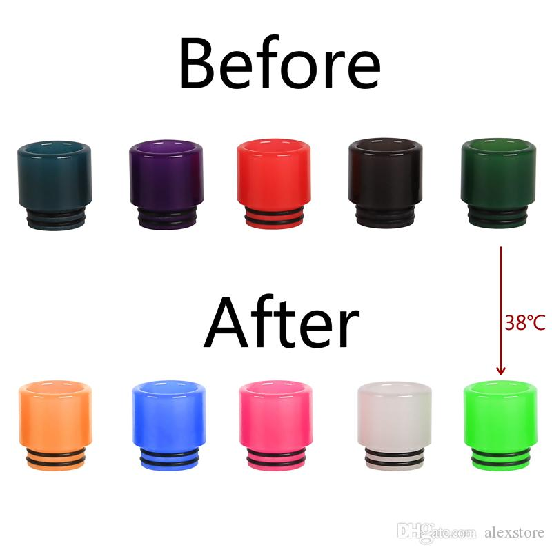 Color Changing Drip Tip Epoxy Resin Mouthpiece fit 510 Thread Atomizers Tank Change Colors in Different Temp Color Changed Vape DHL