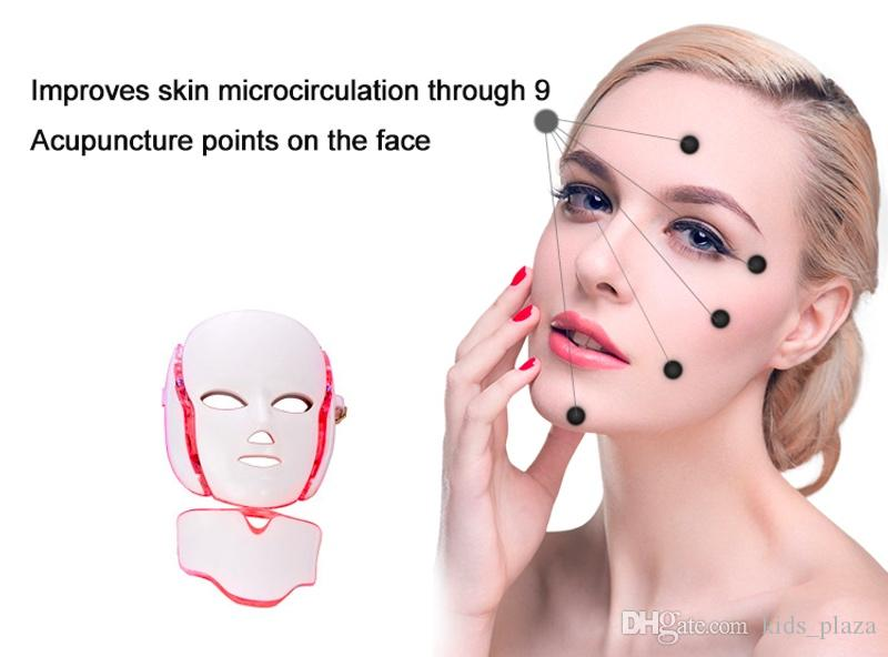 7 Color LED light Therapy face Beauty Machine LED Facial Neck Mask With Microcurrent for skin whitening device