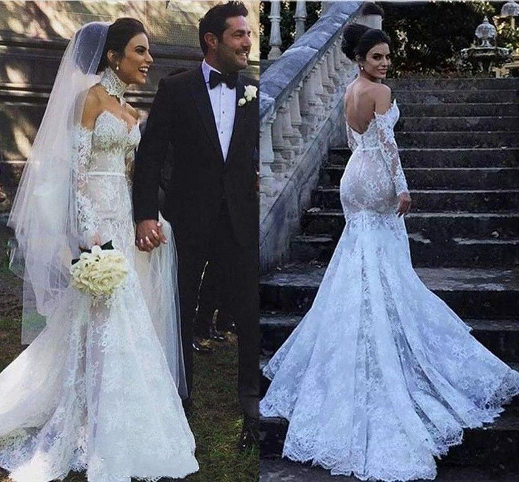 Romantische Meerjungfrau Land Brautkleider volle Spitze 2019 Langarm Schatz Sweep Zug Bogen Sexy Backless Brautkleider Braut Kleid