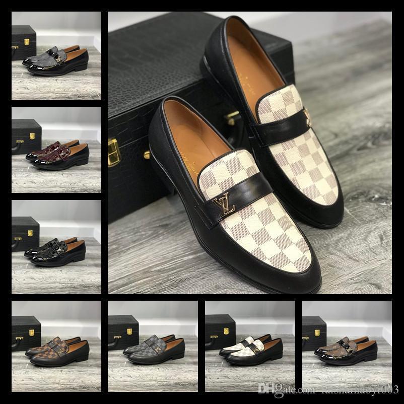 Mix 7 models ress Shoes For Gentle brands Men Bright skin Genuine Business dress Leather Shoes Pointed Toe Mens designer Business Oxfords