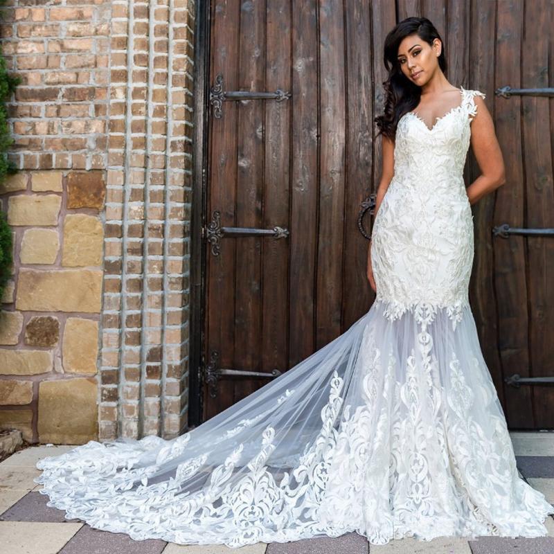 2020 vestidos de boda de la sirena atractiva ilusión barrido tren tul de encaje apliques 3d hizo la sirena Vestidos de novia Primavera personalizada