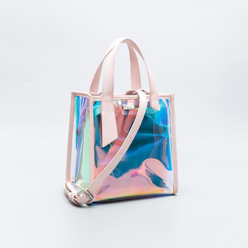 Laser 2018 nouveau paquet d'été sac femelle de gelée ins petits c transparents sur le sac feu liquide marée sac messager épaule