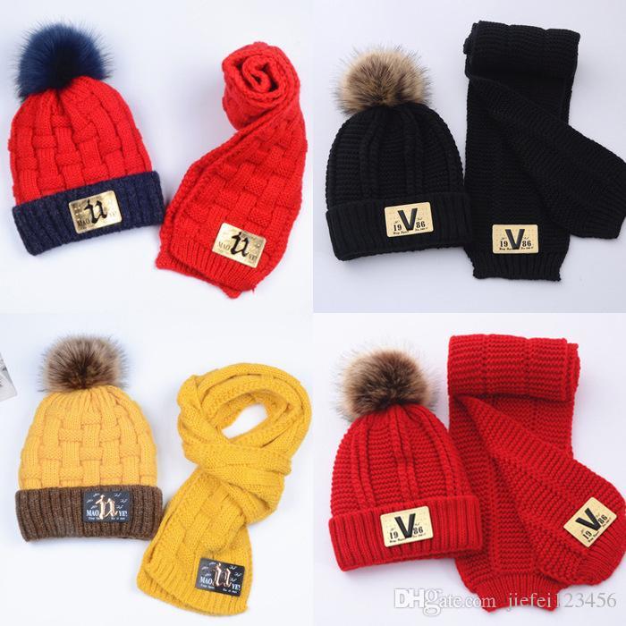 Осень и зима детская шерстяная шапка детский шарф мальчики и девочки вязать костюм теплая шапочка