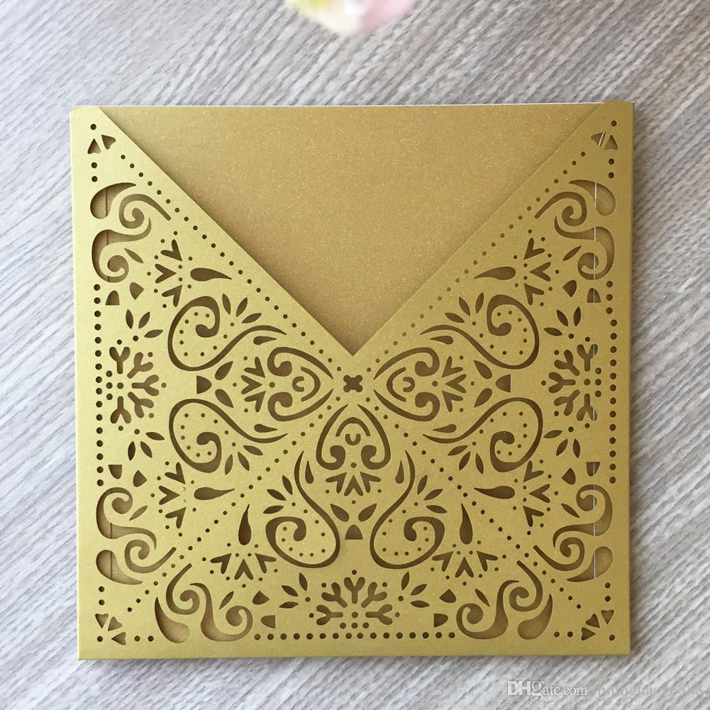 15 Pçs / lotes Oco Cortado A Laser Cartão Do Convite Do Casamento Cor Vários Papel De Pérola Festival Tradicional Cartões de Convite
