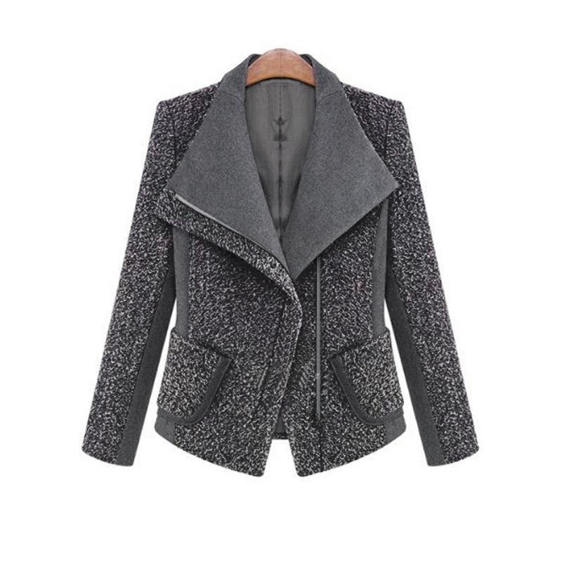 2018 Women Autumn Winter Coat Jacket Fashion Classic Wool Blends Lapel Outwear Black Gray Work Suit Plus Size Coats Jackets