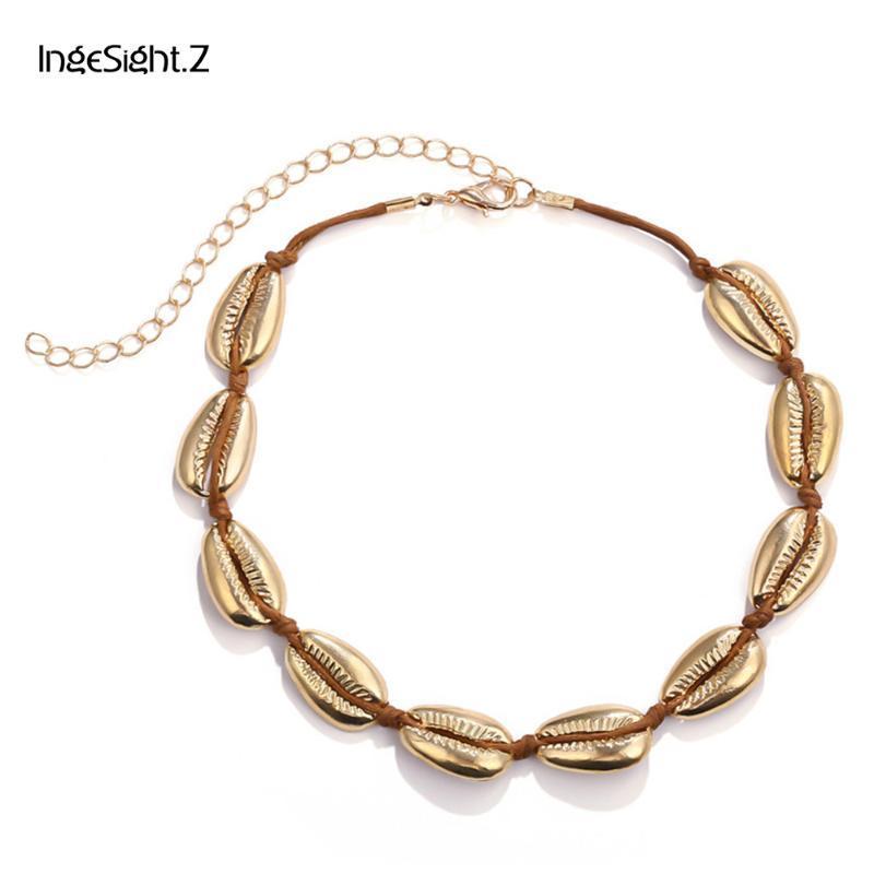 IngeSight.Z Creative Boho Metallic Shell Choker Necklace Simple Adjustable Necklace Collar for Women Jewelry Beach Handmade Gift