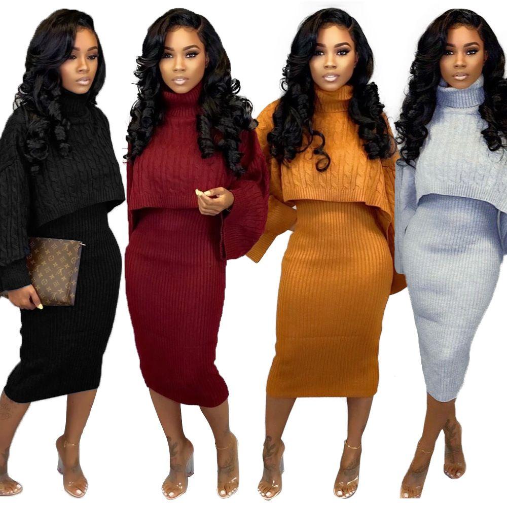 2019 due pezzi Outfits Knit Set Donne Sexy Midi maglione abito autunno Inverno a maniche lunghe dolcevita Night Club partito dei vestiti stretti