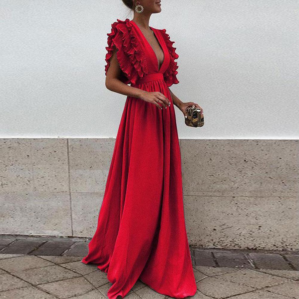 Sexy Mulheres V Profundo Decote Em V Ruffles Boho Maxi Clube Vestido Vermelho Bandage Vestido Longo Partido Damas De Honra Do Infinito Robe Longue Femme