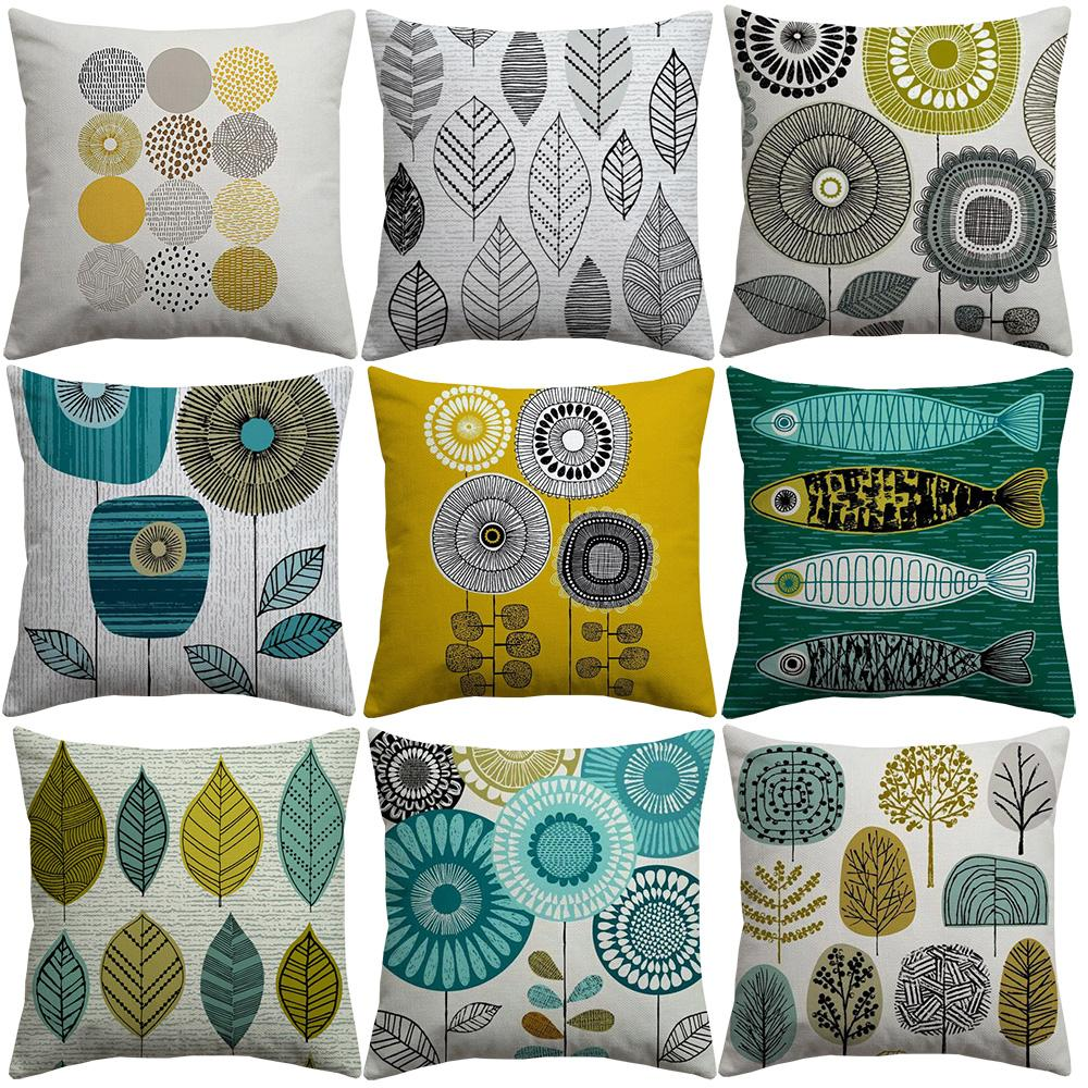 Rustic Plants Floral Tree Leaves Cushion Covers Abstract Nordic Modern Art Cushion Cover Thick Linen Cotton Pillow Case For Bedroom Sofa Car