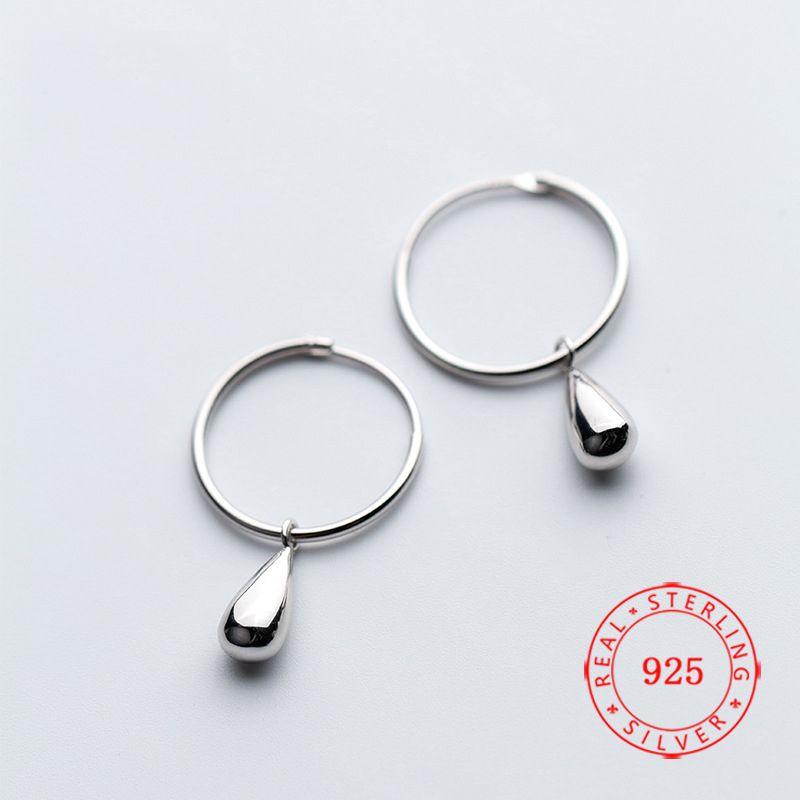 China Fabricação Sólida 925 Sterling Silver Hoop Gota Brincos Gotas de Água Lady Meninas Presentes de Aniversário 2019 Novo Design Jóias Atacado