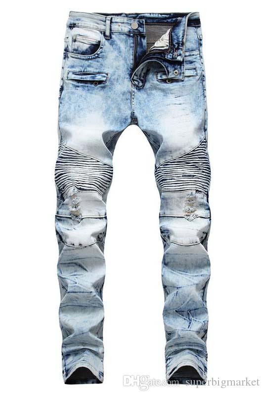 Homme en détresse déchiré maigre jeans de mode de mode hommes jeans slim moto moto moo causal causal hommes pantalons hip hop hommes jeans
