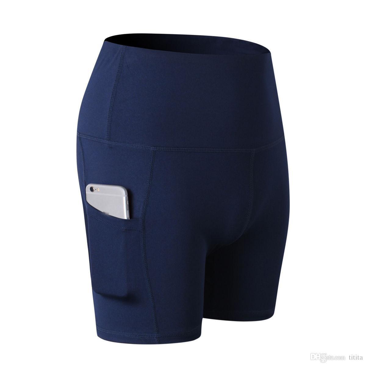 Women Yoga Shorts Hot Sport Pants Breathable Exercises Pants gym outfits with cellphone pocket good quality fast delivery