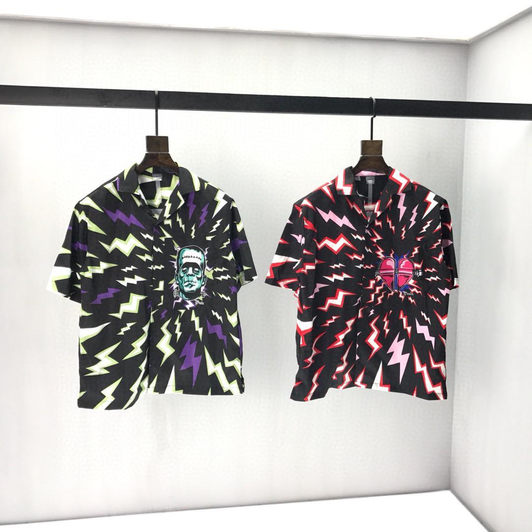 2020ss весной и летом новый высококачественный хлопок печати короткий рукав круглый шею панель T-Shirt Размер: M-L-XL-XXL-XXXL Цвет: черный белый vN2