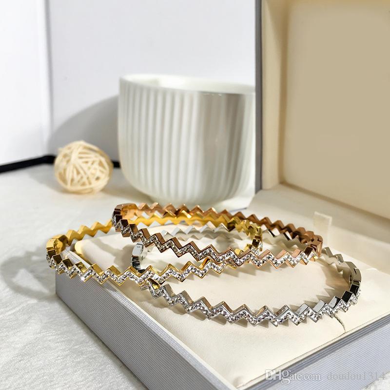 amarelo aço inoxidável 316L subiu banhado a ouro branco CZ Stone charme pulseiras pulseiras para as mulheres recém-chegada venda quente jóias de moda de luxo