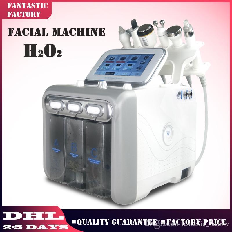 6 1 H2 O2 Hydra visage dermabrasion Hydro Microdermabrasion Peeling vide Nettoyage de la peau eau Aqua oxygène équipement de pulvérisation de beauté de l'appareil