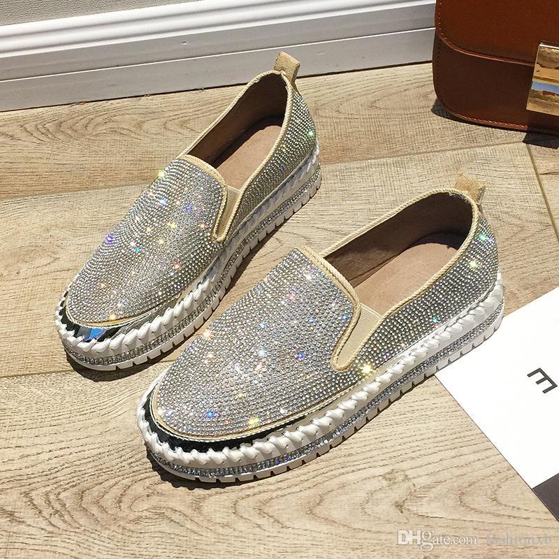 2020 Scarpe di marca di cristallo di Bling Bling europea Espadrillas Moda scarpe da donna in pelle di design Creepers Flats donna Mocassini