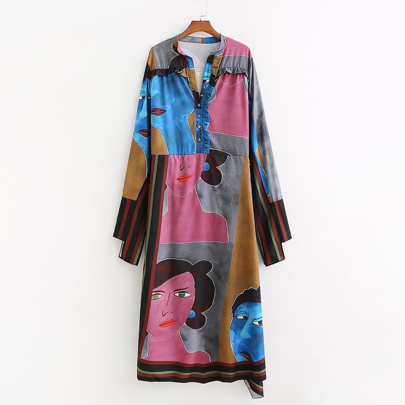 Agong nominal impreso vestidos de las mujeres Moda suelta cuello en V vestido de mujer elegante longitud de la manga del tobillo Vestidos Mujer Damas KN