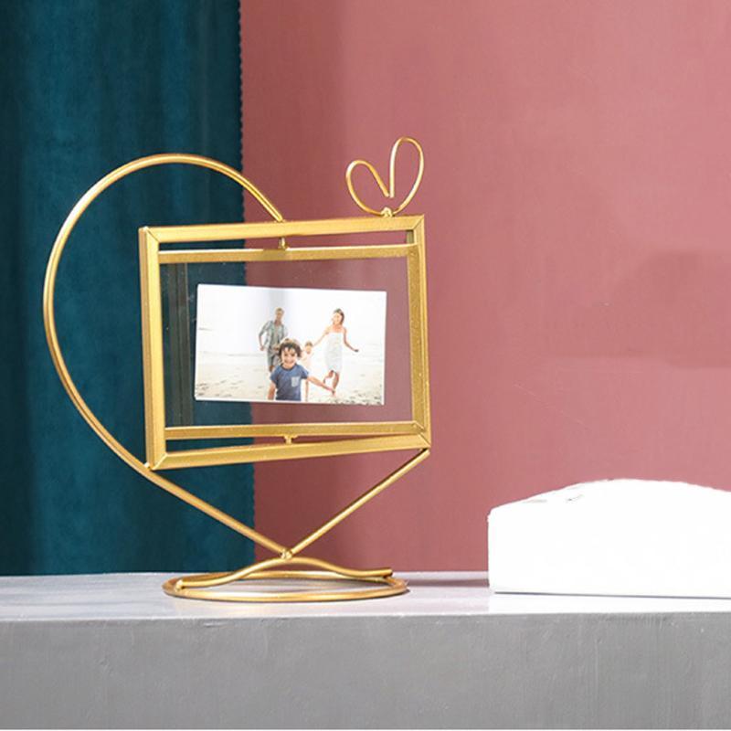 Geométrica do metal do ouro Photo Frame Photo Storage quadro rotativo Black Gold Cor Amarelo Metal Produto