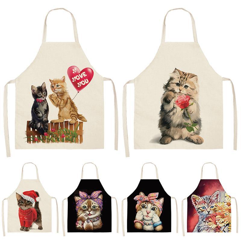 Sans manches Mignon Cuisine Chat Tabliers Femmes draps en coton bavoirs ménage nettoyage Pinafore Home Cooking Tablier 53 * 65cm WQL0200
