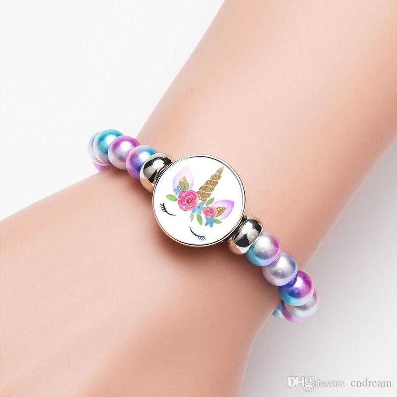 Fräulein Einhorn Armband Einhorn Glascabochon Armband Schmuck Frauen Armbänder Chunks Knopf Kindergeburtstag Fashion Jewelry 320271