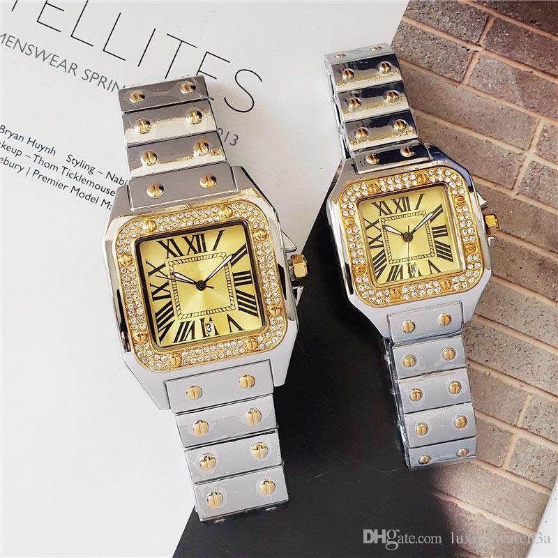 Diseñador famoso reloj de diamantes de los hombres de las mujeres relojes de los pares del presente de cumpleaños de lujo para hombre de pulsera 40mm moda de señora reloj de Montre 33mm