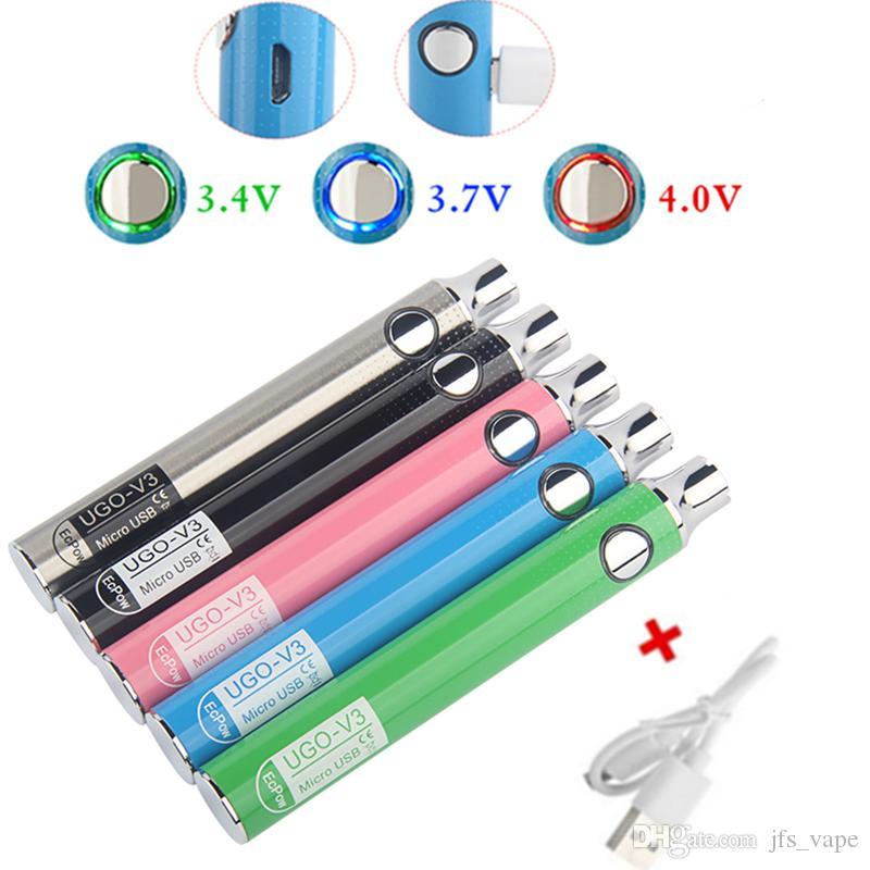 Vorheizen VV Variable Spannung Micro USB Evod Vape Pen Ugo Batterie mit Ego Ladegerät 510 Thread V3 V2 Vaporizer 650 900mAh