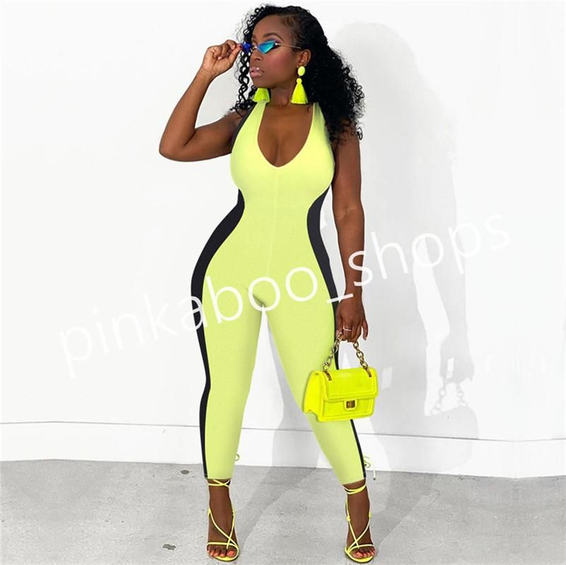 Summer Women Sleeveless Romper Pants V-neck Backless Jumpsuit Leggings Ladies Bodycon Siamese Trousers Club Cloth Fashion Wear S-2XL LY316