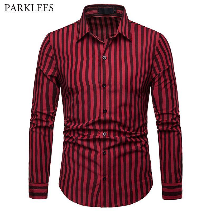 Camisa a rayas para hombre, rojo, negro, solapa, manga larga, camisas de rayas verticales para hombre Casual de negocios, corte estándar, tallas grandes, tops de homme XXL