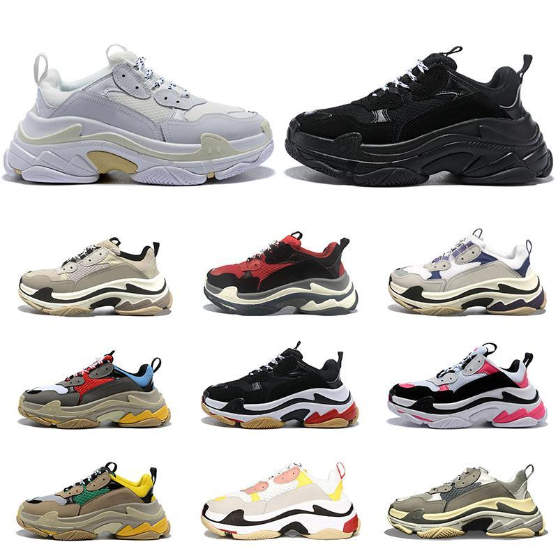 2020 من الرجال والنساء الأزياء والأحذية الكاجوال ثلاثية الصورة خمر أحذية رياضية أسود أبيض رمادي الرجال الأرجواني المدربين التنس الركض حجم المشي 36-45