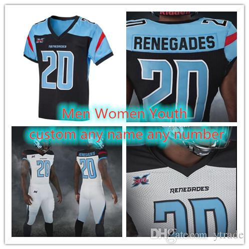 Özel 2020 Renegades XFL Futbol Forması Landry Jones Phillip Nelson Cameron Artis-Payne Dimitri Çiçekler Darnell Holland Jeff Badet Herhangi bir Nam