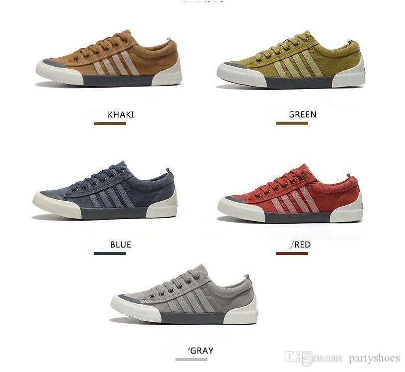 2019 Scarpe di tela Uomo Scarpe casual Scarpe traspiranti resistenti all'usura Confortevole punta arrotondata Sneakers stringate piatte