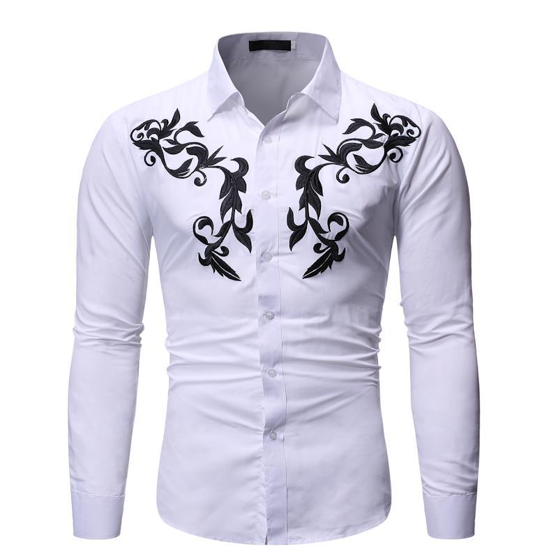 Мужские повседневные рубашки белая вышивка рубашка мужчины 2021 бренд Slim Fit с длинным рукавом мужское платье бизнес социальный мужской Chemise Homme