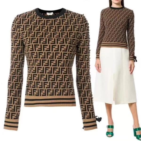 Moda-2019 mulheres blusas pullover F Carta Outono E Inverno Qualidade Blusas De Tricô Camisola Feminina Fábrica made