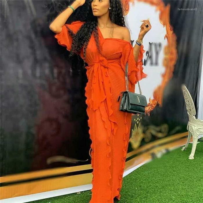 Robe Fashion V Neck manches mi-longues Fanale Vêtements onduleux Plissé Robe longue Femmes Designer Casual