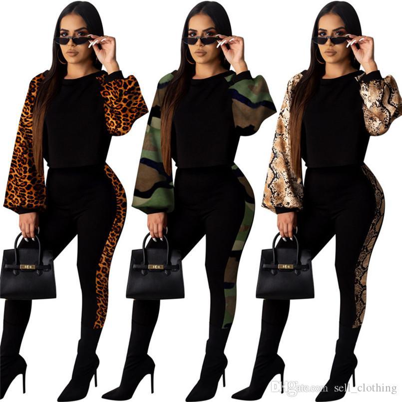 Artı boyutu Kadınlar kamuflaj kıyafetler 2 adet set eşofman moda kazak üst + pantolon rahat patchwork beden takım elbise 2076 koşu eşofman