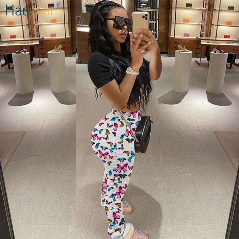 Haoyuan mariposa del tinte del lazo de la cintura de impresión de alta apilada pantalón elástico basculadores de las mujeres polainas atractivas Bottoms pantalones con pliegues pantalones T200603