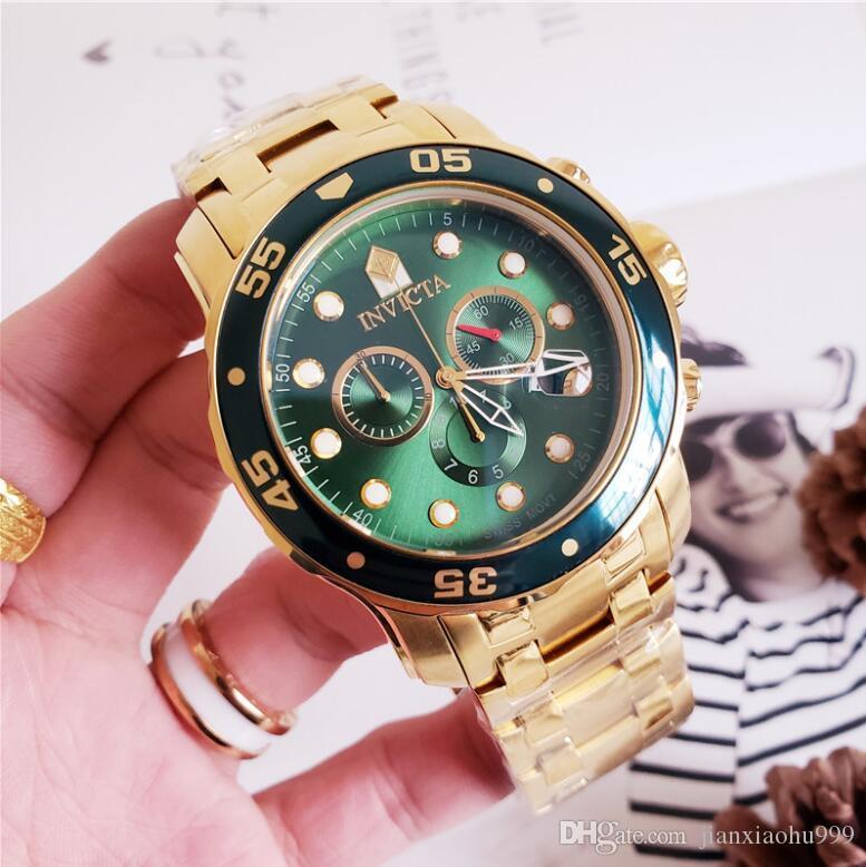 أعلى جودة السويسرية cosc الأصلي INVICTA العلامة التجارية 0072 0073 0074 0075 برو دايفر سلسلة الموقت 18K الذهب مطلي الرجال كوارتز ساعة + المربع الأصلي