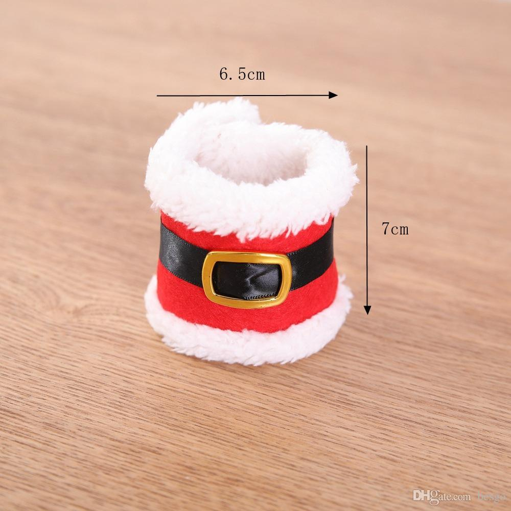 Santa Claus Red Napkin Rings Holder Elf Cloth Tissue Boxes Party Banquet Dinner Table Christmas Decoration Serviette Holder DH0308