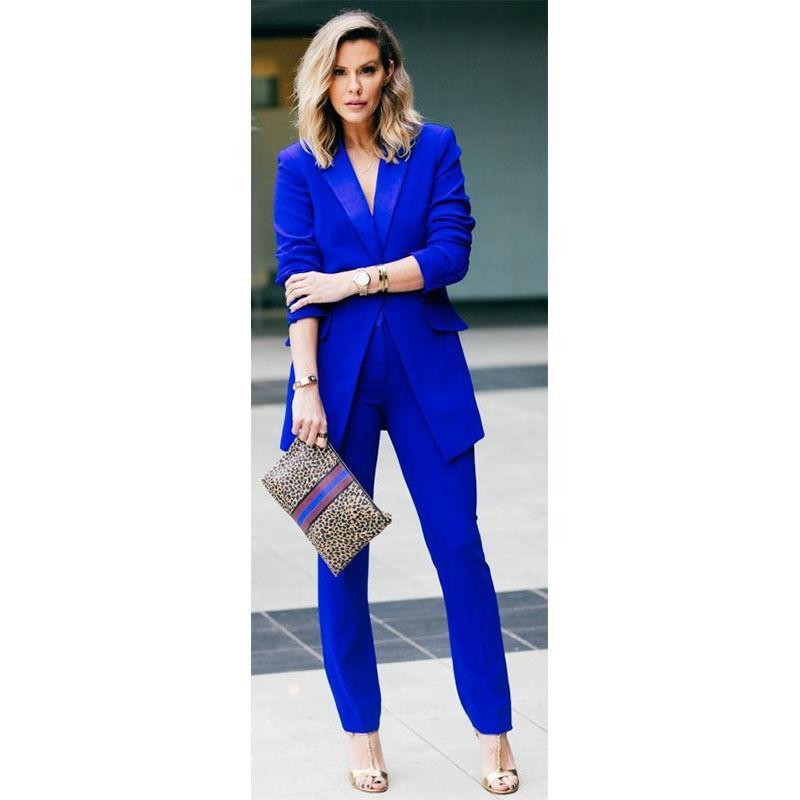 Royal Blue Female Office Uniform 2 Piece Set Women Trouser Suit Evening Tuxedo Women's casual suits formal suits trousers