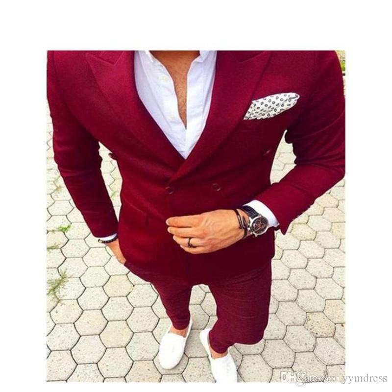 Burgundy Wedding Man Suits Slim Fit Double Breasted Goom Tuxedos Prom Suits 2 Piece Suit (Jackets+Pants)