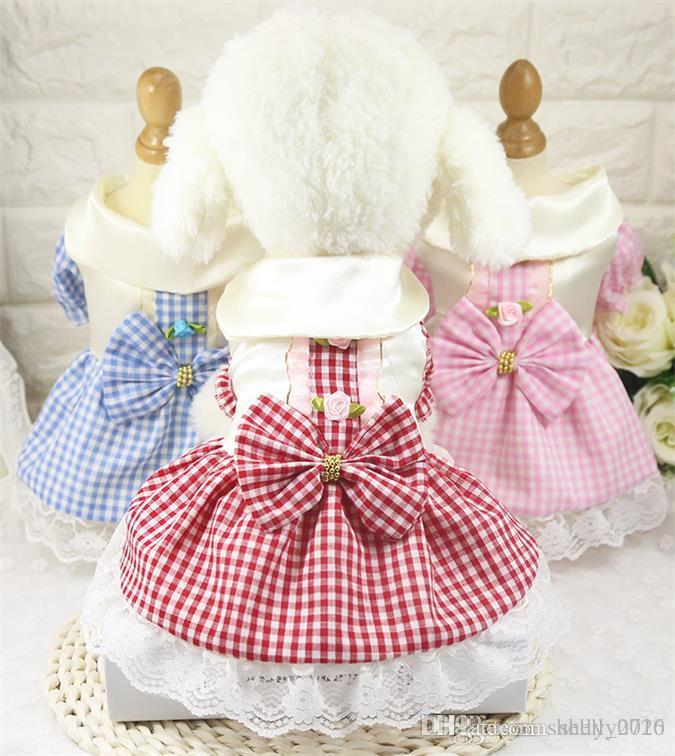2020 Sommer-Haustier-kariertes Kleid Tutu Hochzeit Hundekleid Haustier-Prinzessin Kleider Mode Hunde-Bekleidung für kleine Hunde Yorkie XS-XXL