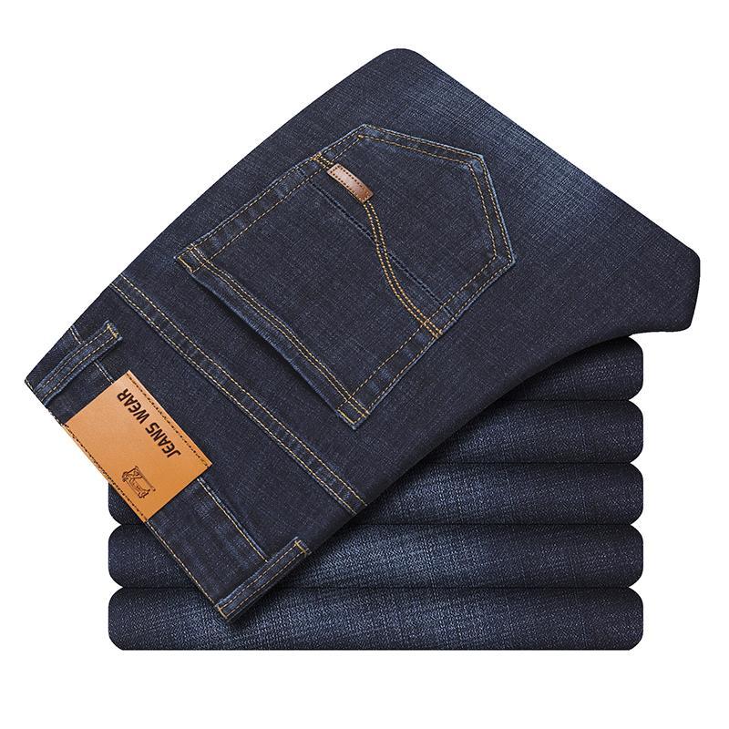 2019 della molla di autunno Mid Peso casuali degli uomini del motociclista Denim jeans stretch denim pantaloni solidi slim fit jeans maschio magro strada Pant