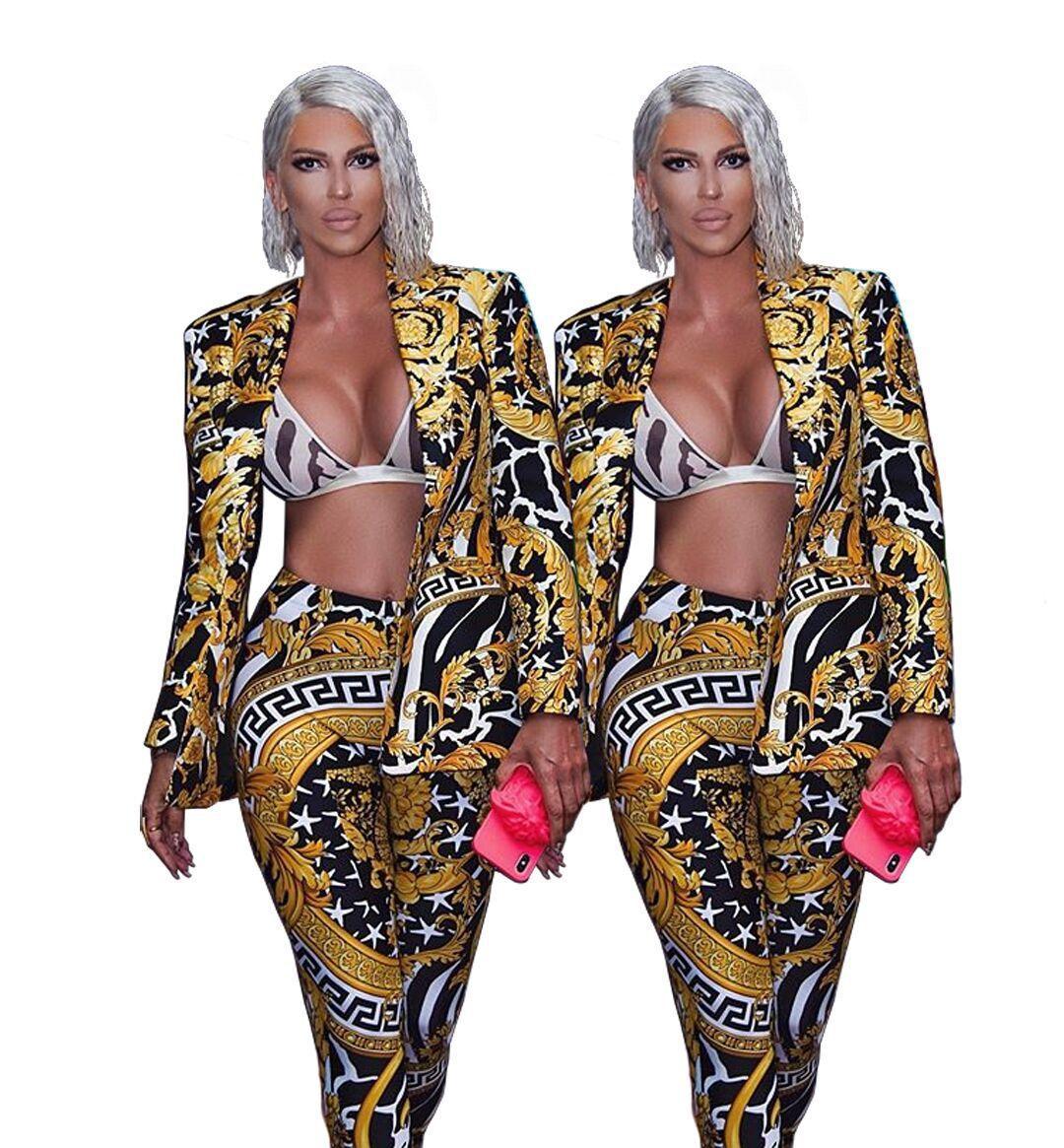 Costumes Blazers Sexy Décolleté V Suit Slim Imprimer la femme