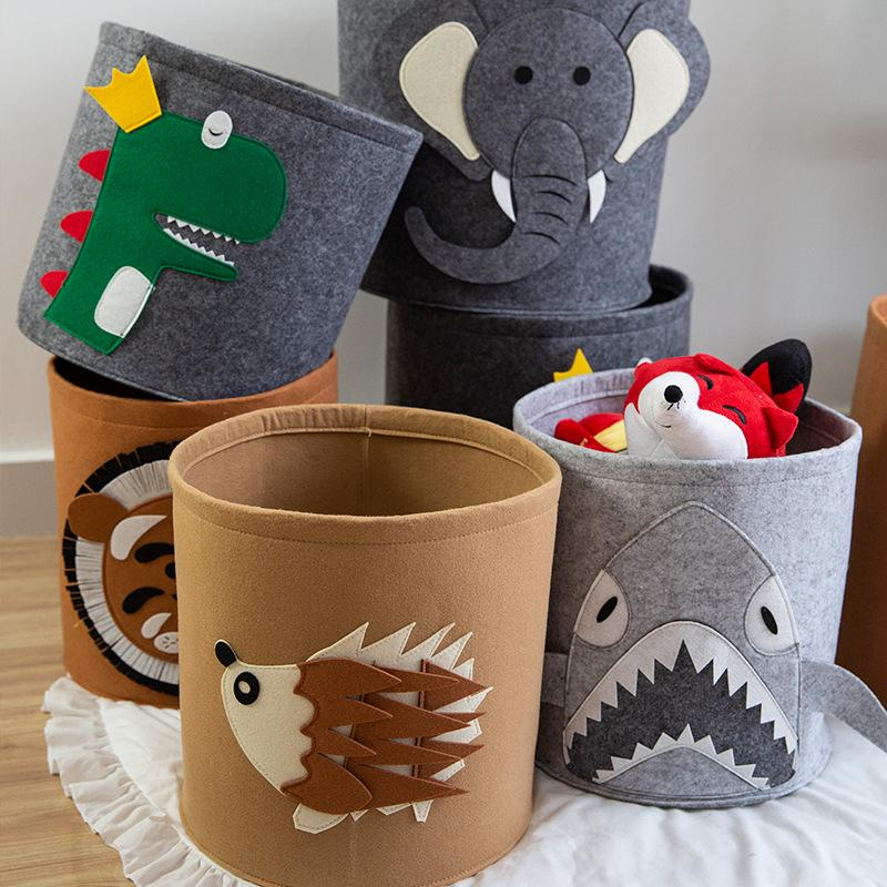 Crianças sacos das fraldas Box Lion Toy Padrão Felt armazenamento Bucket lavável senti sujo Clothes Organizer cesto dos desenhos animados sacos de fraldas 1000pcs CCA12131