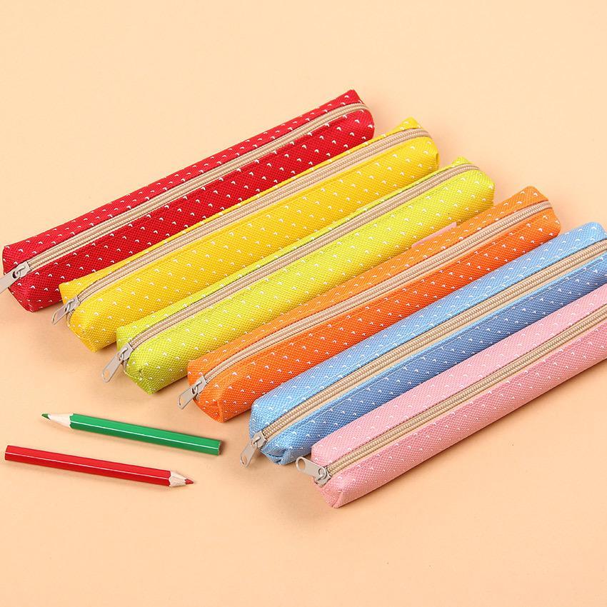 1 PC Kawaii Lovely Wave Point Scatola di matite Cerniera Astucci per matita Borse di tela Borse per scuola