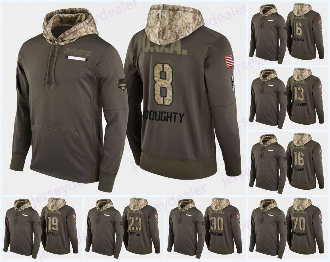 32 Jonathan Quick Los Angeles Kings Askeri Kamuflaj Hood ABD Bayrağı Hoodie Formalar 99 Wayne Gretzky Rogatien Vachon McSorley Hoodies Sweatshirt