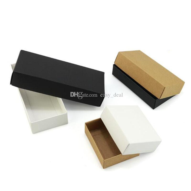 15*15*4.5cm White Black Kraft Paper Box With Lid Small Craft Case Gift Packaging Box QW9111